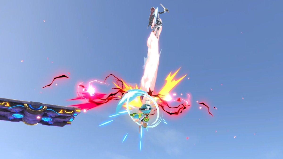 スマブラspでインクリングが空上でルキナを撃墜している画像