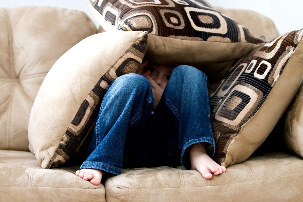 ソファの上でクッションに覆われている少年の画像