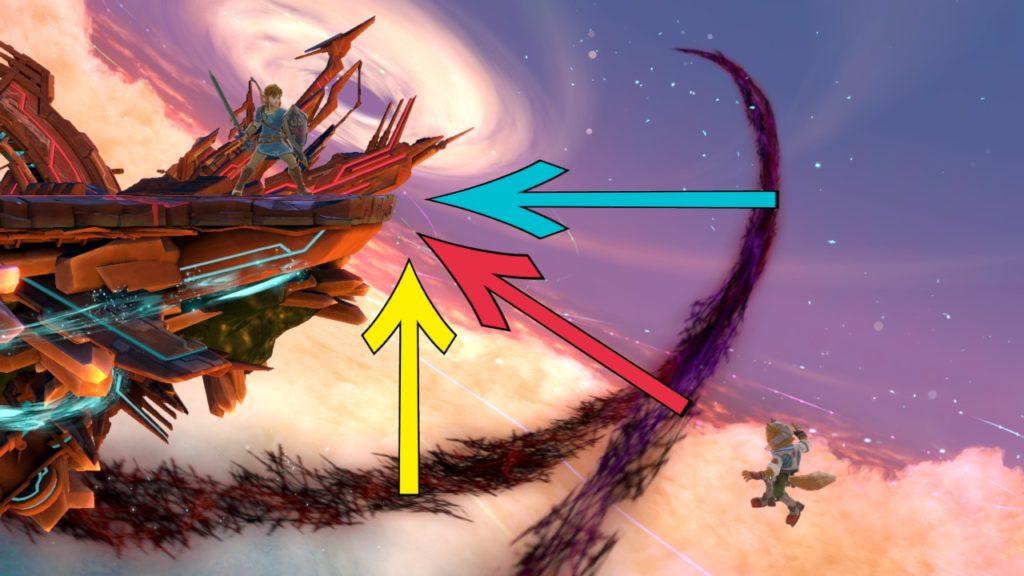 スマブラspで、横斜め縦の3つの復帰ルートが図示されている画像