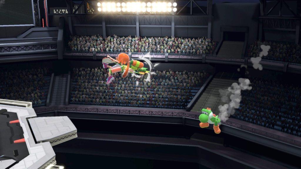 スマブラsp インクリングがヨッシーの復帰を空後で阻止している画像