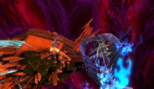 スマブラsp ガオガエンが崖につかまり、その後ろをアルセーヌ状態のジョーカーが上Bで復帰している画像