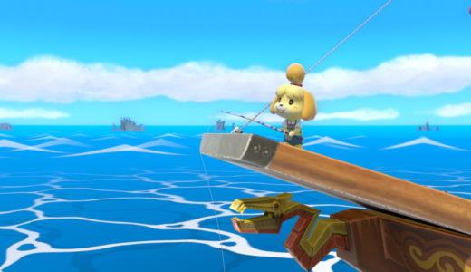 スマブラspでしずえさんが海賊船の甲板で横Bの釣りをしている画像