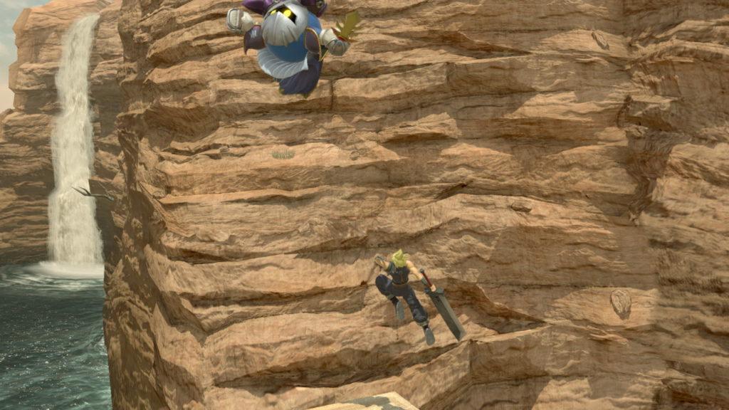 スマブラspでクラウドがメタナイトの着地を狩ろうとしている画像