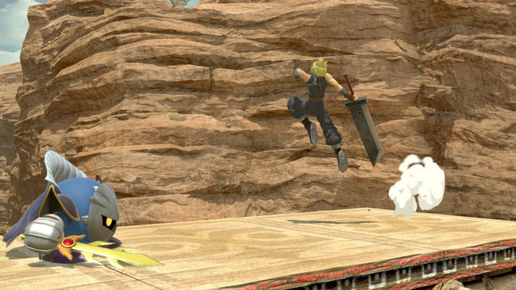 スマブラspでクラウドが小ジャンプでしながらメタナイトに近づいている画像