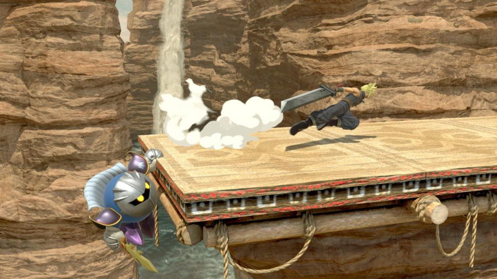 スマブラspでクラウドがメタナイトの崖つかまりに対して後ろステップしている画像