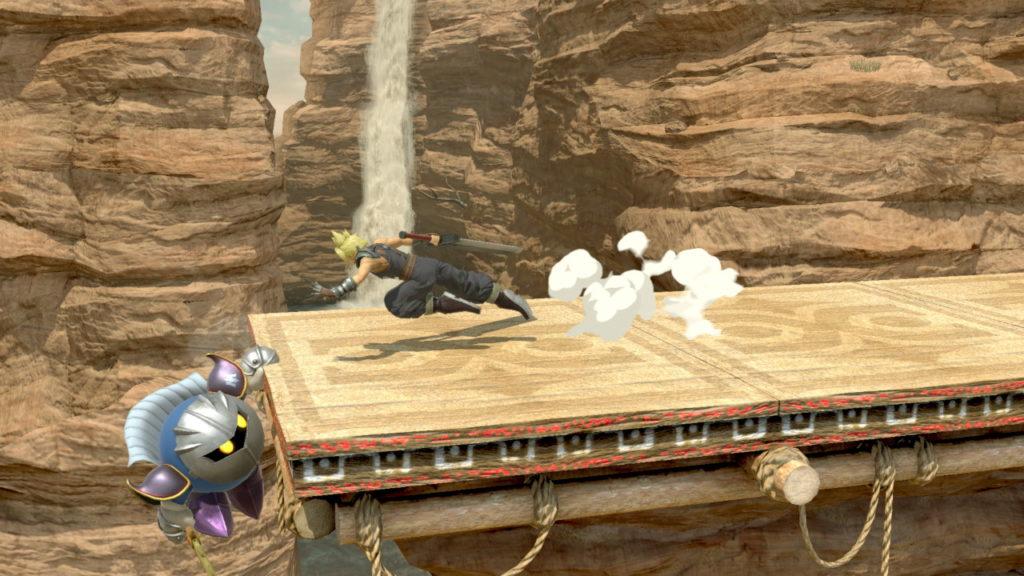スマブラspでクラウドがメタナイトの崖つかまりに対して前ステップしている画像