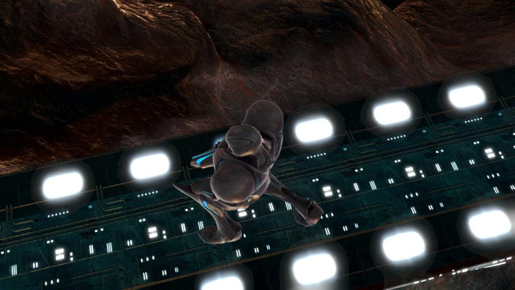 スマブラSPでダークサムスがしゃがんでいるのを上から撮影した画像