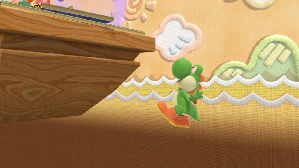 スマブラSPでヨッシーが空中ジャンプを使って復帰しようとしている画像